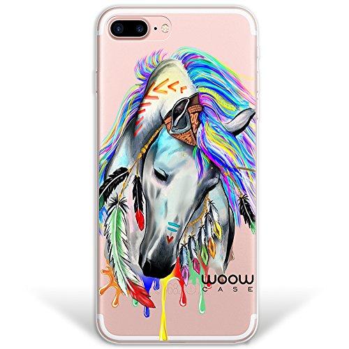 iPhone 7 Plus Hülle, WoowCase® [ Hybrid ] Handyhülle PC + Silikon für [ iPhone 7 Plus ] Französische Bulldogge Tier Mehrfarbige Design Handytasche Handy Cover Case Schutzhülle - Transparent Hybrid Hülle iPhone 7 Plus H0010