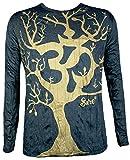 Sure Clothing Herren Longsleeve T-Shirt - Om Magischer Baum Sondermodell Größe M L XL Hinduismus Yoga Psychedelic Art (Schwarz-Gold L)