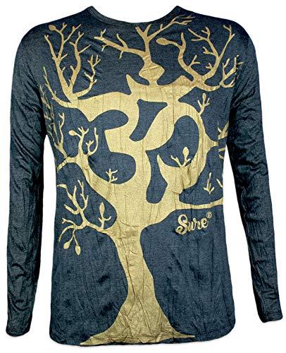 Sure Clothing Herren Longsleeve T-Shirt - Om Magischer Baum Sondermodell Größe M L XL Hinduismus Yoga Psychedelic Art (Schwarz-Gold XL)