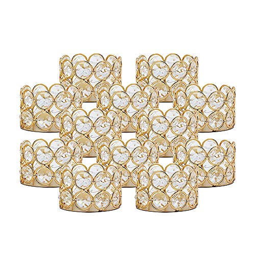 VINCIGANT Teelichthalter Gold Kristall, Metall Kerzenhalter Halter 12er Set //Weihnachtsdeko, Wohnzimmer, Dekoration Hochzeit Tisch