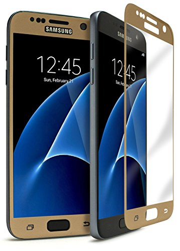 NETBOON® Original Samsung S7 Tempered Glass Screen Guard 3D Full Covered Edge to Edge – [HD Crystal Clear Premium Quality Screen glass Guard, Anti-Scratch Ultra Thin 0.3mm thickness bubble free installation Branded Screen Protector – 9H Hardness ] – Gold