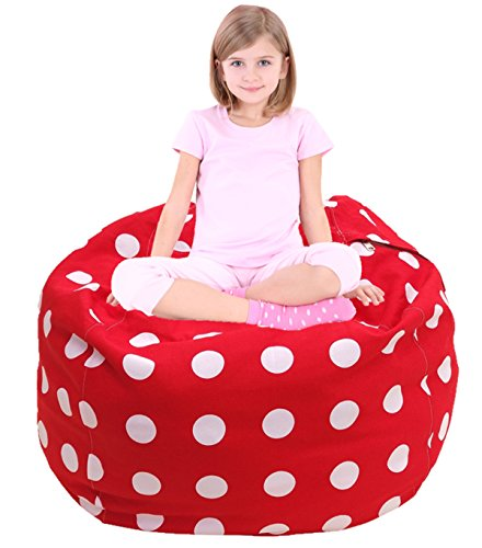Stuffed Animal Storage Bean Bag Chair, Premium Canvas and Extra Long Zipper Red and White Polka Dot-38