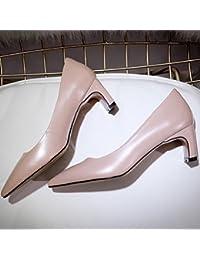 WYWQ Banquete de fiesta de cuero 2018 Primavera Nuevo cuero genuino Mujeres Singles Zapatos áspero medio tacón puntiagudo azul Albaricoque Champagne , apricot , 37