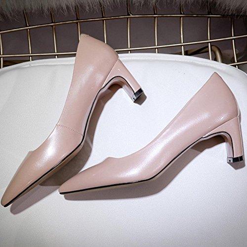 WYWQ Leather Banquet Party 2018 Primavera New Genuine Donna in pelle Singolo Scarpe ruvolo tacco medio punta a punta blu Apricot Champagne apricot