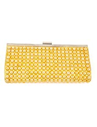 ELEGANT PREMIUM DOUBLE SIDED EVENING CLUTCH BAG WITH GOLDEN PATTERNED PEARL AND ADJUSTABLE SHOULDER CHAIN, SNAP CLOSURE & SMOOTH INNER SATIN ( hard box shiny fashionable party wear bling wallet hand-bag new design tote party bag lady women day clutch dinner purses fashion bride wedding marriage mini handbag)