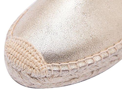 Classic Femmes Slip-on Flats à la cuir respirante Espadrilles Flâneur Chaussures Doré