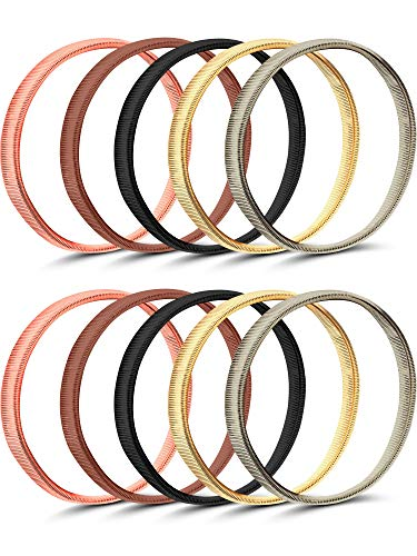 5 Paar Hemd Hülsenhalter Anti Rutsch Arm Ärmel Strumpfbänder Metall Stretch Elastische Metallarmbänder (Mehrfarbig B) (Shirt-ärmel-strumpfband)