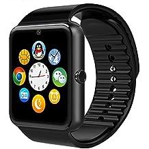 Bluetooth reloj inteligente con tarjeta SIM ranura para tarjeta TF de hacer llamadas de teléfono 2.0MP Apoyo mensaje notificación podómetro Monitor de sueño compatible con Android y iOS sistema, GT08 With Camera black, PD-1