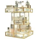Aufbewahrungsbox für Make-Up, antik, um 360 Grad drehbar, verspiegelt, mit goldenem Rand, für Kosmetikartikel und Zubehör