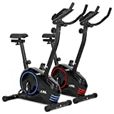 JLL® Home Premium Exercise Bike JF150, 2017 new version Magnetic resistance exercise bike fitness Cardio workout with adjustable resistance, 5KG two ways fly wheel, console display with tablet holder, heart rate sensor, Adjustable Handle bars and 7-level seat height adjust, 12-month warranty