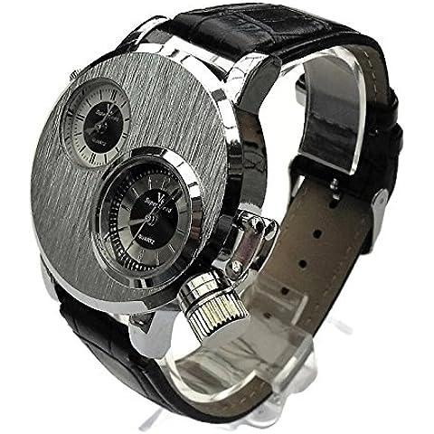 QBD orologio da uomo grande. Dual Time zones- Big quadrante di 5cm, lunghezza 18–24cm-strap- (Argento Viso/pelle)