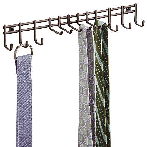 mDesign Perchero de pared - Práctico colgador de cinturones y corbatas - Corbatero para colocación en pared, también para cinturones, toallas, carteras y accesorios - Color bronce