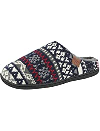 2cbc58d2b87 Mens Innsbruck Jo   Joe Fair Isle Nordic Festive Slip On Mules Slippers  Shoes Size 7