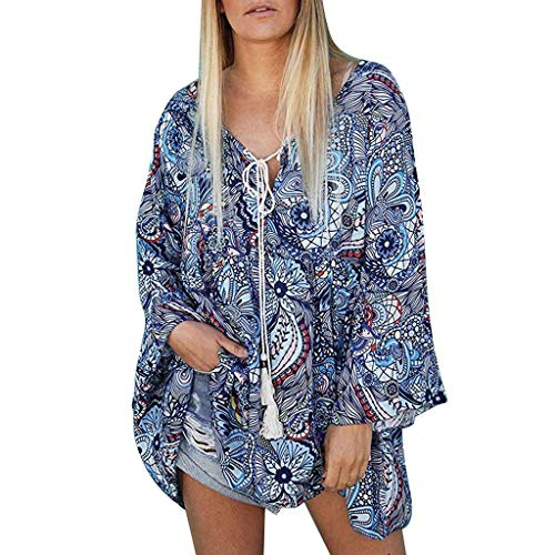 Auiyut Damen Böhmische Mode Elegantes V-Ausschnitt Tunika Tops mit Vintage Druck Folk Custom Stil Blumenmuster Swing Hemd Langarm Shirt