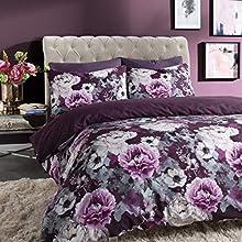 Sleepdown Inky Floral Purple Reversible Duvet Cover and Pillowcases Bedding Set (Single)