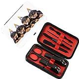 Set di pedicure per manicure 7 pezzi Decorazioni di compleanno per bambini Kit per la cura delle unghie in acciaio inossidabile,Cuccioli di Rottweiler con cappelli a forma di cono Stampa artistica, ne