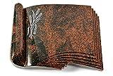 MEMORUM Grabmale Grabbuch, Grabplatte, Grabstein, Grabkissen, Urnengrabstein, Liegegrabstein Modell Prestige 40 x 30 x 8-9 cm Aruba-Granit, Poliert inkl. Gravur (Aluminium-Ornament Ähren 1)
