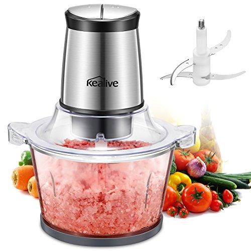 Kealive Zerkleinerer elektrisch, Universalzerkleinerer | 1,5 L Glasbehälter | 4 Edelstahl-Messer | 2 Geschwindigkeitsstufen | Multizerkleinerer Ideal für Obst, Gemüse und Fleisch Elektrisch | BPA Frei - Silber