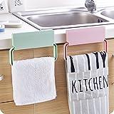 Home Cube® 2 Pcs Self-Adhesive Plastic Towel Rack Cabinet Cupboard Door Cloth Holder Bathroom Storage Rack Kitchen Accessories - Random Color