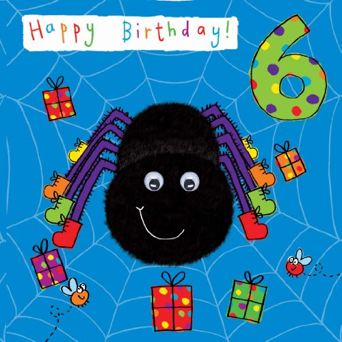 Twizler 6th Birthday Card For Child With Spider And Hand Finished Googly Eyes 6