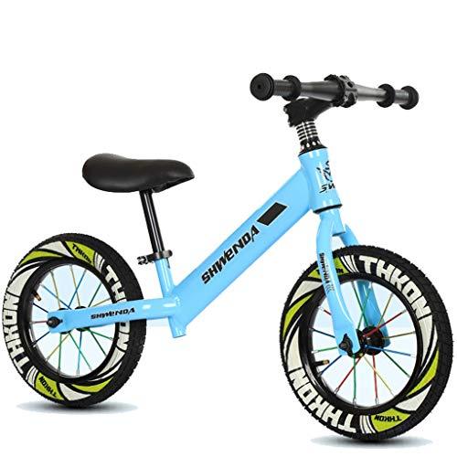 Delawen Kleinkind Ultra Lightweight Balance Bike 3-6 Jahre alt ohne Pedal Rutsche Dual-Use-Fahrrad Kind Push Bike Höhenverstellbare Gummireifen (Color : Blue) -
