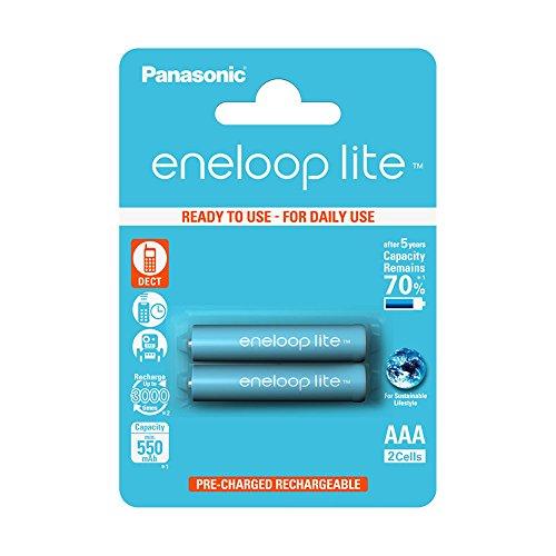 Panasonic Telefon Akku (Panasonic eneloop lite, Ready-to-Use Ni-MH Akku, AAA Micro, 2er Pack, min. 550 mAh, 3000 Ladezyklen, geringe Selbstentladung)