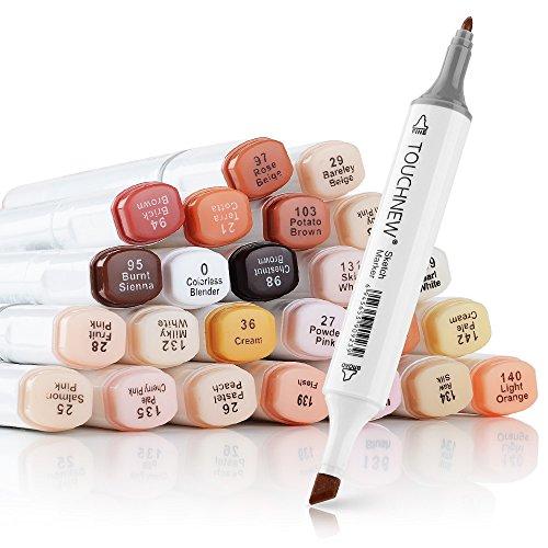 24 colores Tonos de piel Bolígrafos Twin Tip Twin Marker Set, Artista Permanent Sketch Manga Markers Pens para Retrato Ilustración Dibujo Coloring - Alcohol Based Art Markers