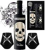 DAS Vodka Geschenk Black Wodka Luxus Designer Iordanov mit Chrome Skull inkl. 2 schwarzen Gläsern Luxus Geschenk für Mann Geburtstag