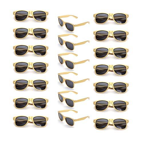 Onnea 20 Stück Party Favors 80's Sonnenbrille UV400 Schutz für Damen Herren (20 Gold)