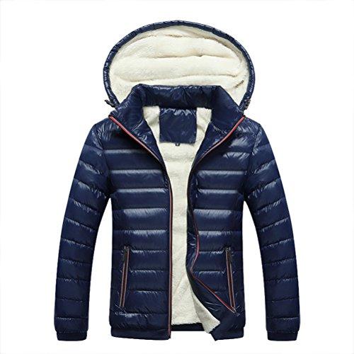 Linyuan bonne qualité Winter Cotton Coat Men's Thicken Warm Hooded Jacket Outerdoor Slim Fit Detachable Hat blue