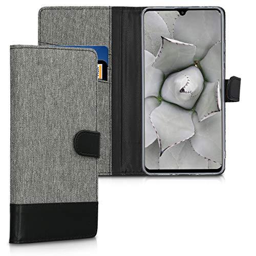 kwmobile Huawei Mate 20 X Custodia Portafoglio - Cover Porta Carte Tessuto Simil Pelle Stand per Huawei Mate 20 X - Case Magnetica