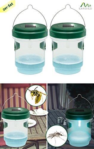 *Gardigo Solar Insektenfalle 2er Set 2in1 Wespenfalle und Mückenfalle mit Solar-LED-Leuchte*