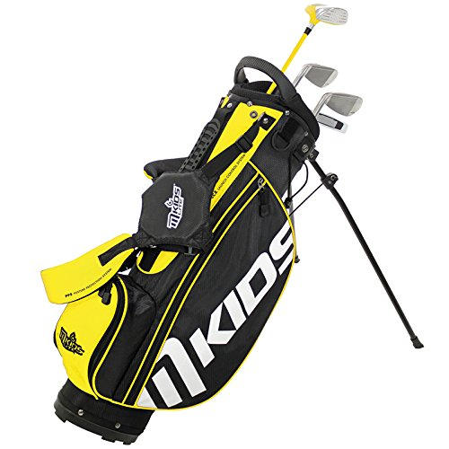 MKids Golf Junior Lite Pacchetto Set di borsa con supporto legno fairway, legno e metallo, 7e 9ferri, SLA Putter e mazze in giallo 45cm, unisex, Right,