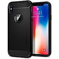 spigen Rugged Armor Funda iPhone XS/X con Absorción de Choque Resistente y diseño de Fibra de Carbono para iPhone XS & iPhone X - Negro