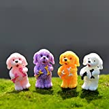 4pc/lot Curly Hair Dog Miniature Figurine Stand Walk Sit Cartoon Animal Models Toy DIY Accessories Doll House Toy Decoration