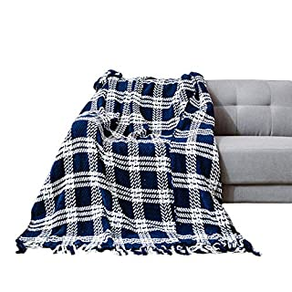 HollyHOME Throw Blanket Plaid Stripe Knitting 152x178cm Luxury Soft Microfiber Winter Blanket with Tassels, Ideal for Bed or Couch, Navy Blue