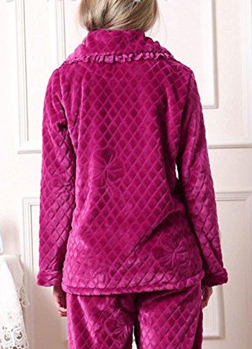 tonwhar femmes de coton flanelle pyjama de nuit Violet - Violet
