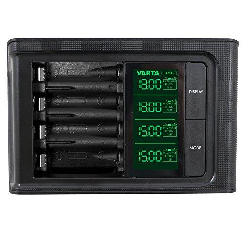 Varta 57674101401 Smart Charger Caricatore LCD per Batterie AA e/o AAA, 1/4
