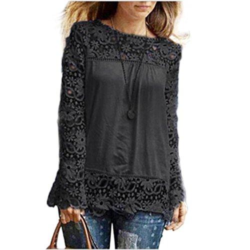 MORCHAN Chemise à Manches Longues pour Femmes Fashion Casual Blouse en Dentelle Tops en Coton lâche T-Shirt(FR-42/CN-XXL,Noir)