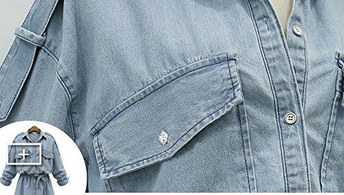 Blansdi Femme Sexy Robes Courte en Jeans Mince Slim Col V Manches Longues Taille Haute Avec Ceinture Courte de Cocktail Chemisier Blouse Bleu clair