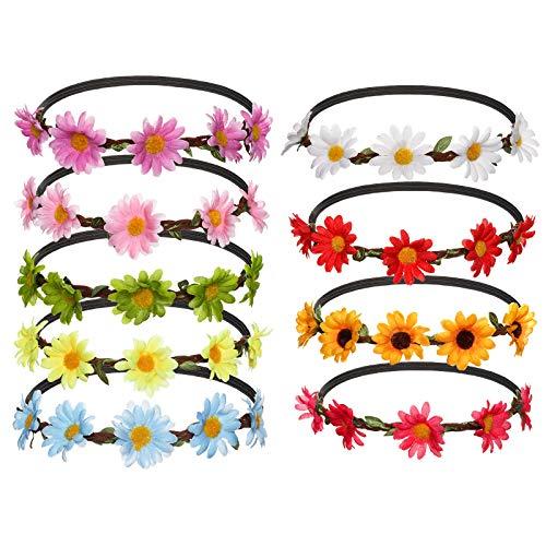 AWAYTR 9 Stück Blumen Stirnbänder Krone Girlande - Frauen Mädchen Mehrfarbig Blume Girlande für Festival Hochzeit Party(B-Mixed Farb (Party Stadt Kostüm Für Erwachsene)