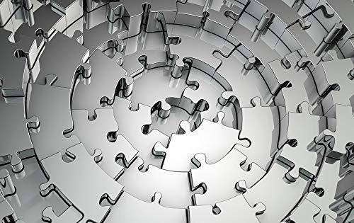 GRAZDesign Bilder Wohnzimmer Puzzleteile, Dekoration Wohnung modern Abstrakt, Wandbild grau, Acrylglasbild / 120x80cm