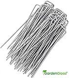GardenGloss 100 Premium Anti-Rost Erdanker aus gehärtetem Stahl - Stabile Erdnägel für Unkrautvlies, Gartenvlies, Zaun & Camping - 150 mm Lang, 30 mm Breit, Ø 3 mm