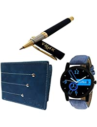 Xpra Analog Watch, Leather Wallet, Metal Pen Combo For Men & Boys (PN-CMB-1)
