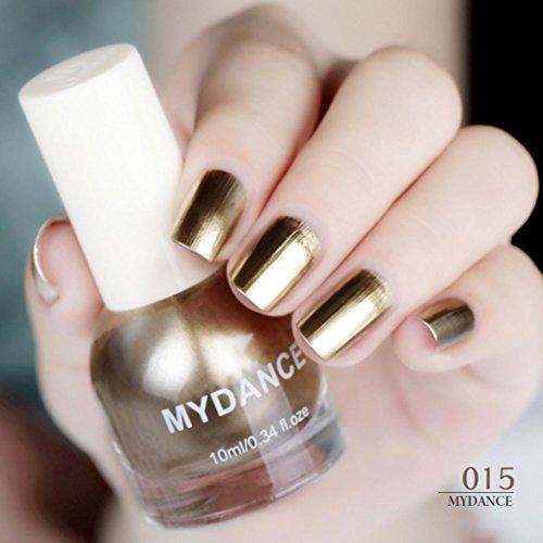 Nagellack,Hunpta Flow Gold Spiegel Chrom Effekt Nail Polish Folie Nails Kunst Glitter Silber (O) Gold-silber-nagellack