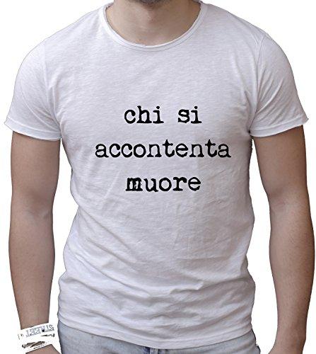 T-shirt cotone fiammato Scollo ampio a taglio vivo - CHI SI ACCONTENTA MUORE divertenti humor MADE IN ITALY Bianco