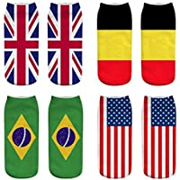 OHlive Suave Las Mujeres de la Bandera Nacional 3D Imprimieron Las Zapatillas de Deporte Calcetines Calcetines del Tobillo (1 par-GQ01-One Size) (Color : GQ01, tamaño : Talla única)