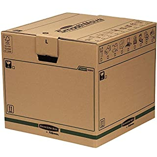 SmoothMove Heavy Duty Double Wall Cardboard Moving and Storage Boxes with Handles - Tape Free Assembly and FastFold Automatic Pop Up Set Up, 85 Litre, 40.5 x 45.5 x 45.5 cm (5 Pack)