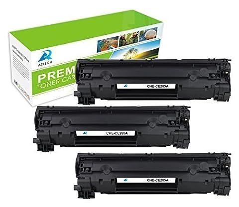 Aztech 3 Pack Compatible CE285A 85A/ CRG 725 cartouche de toner 1600 Pages Pour HP LaserJet P1100 P1102 P1102W P1102WHP, Pro M1132 M1210 M1130 M1212NF