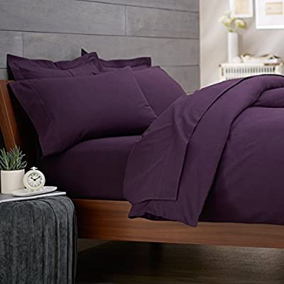 Rayyan Linen's Percale Plain Dyed Poly Cotton Aubergine/purple Duvet Cover Bed Set Size Double | Quilt Cover Bedding Set With Pair Of Pillowcases